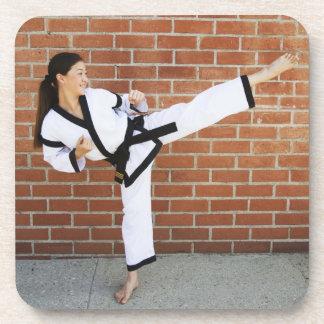 Girl doing martial arts 2 coaster