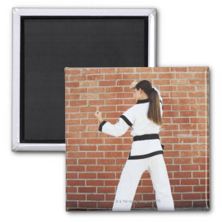 Girl doing martial arts 2 inch square magnet