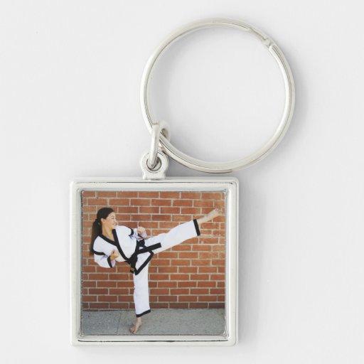 Girl doing martial arts 2 key chain