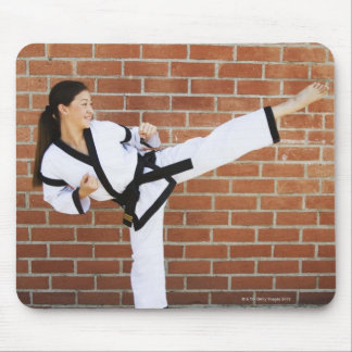 Girl doing martial arts 2 mouse pad