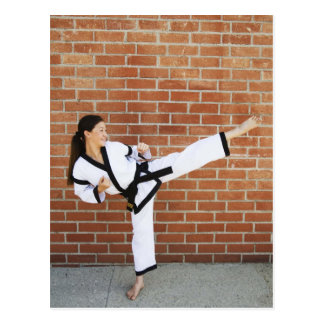 Girl doing martial arts 2 postcard