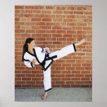 Girl doing martial arts 2 print