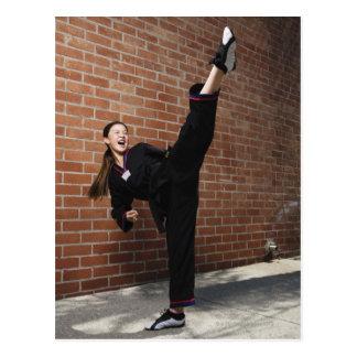 Girl doing martial arts 3 postcard