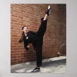 Girl doing martial arts 3 print