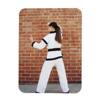Girl doing martial arts magnet