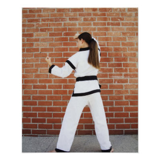 Girl doing martial arts poster