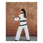 Girl doing martial arts posters