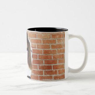 Girl doing martial arts Two-Tone coffee mug