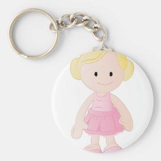 Girl Doll Basic Round Button Keychain