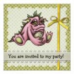 Girl dragon 5.25x5.25 square paper invitation card