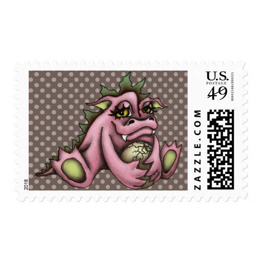 Girl dragon stamp