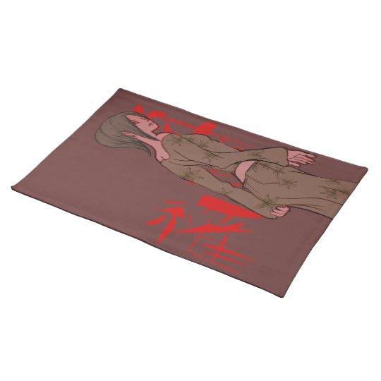 girl drawing manga japan text cloth placemat