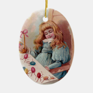 Girl Dreaming of Animate Easter Eggs Ceramic Ornament