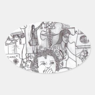 Girl Dreams 2 Oval Sticker
