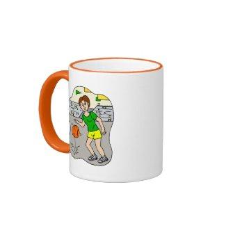 Girl dribbling ball mug