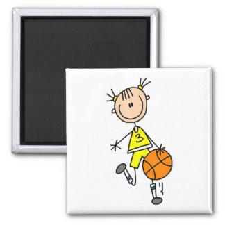 Girl Dribbling Basketball Tshirts and Gifts Magnets