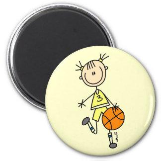 Girl Dribbling Basketball Tshirts and Gifts Refrigerator Magnet