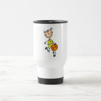 Girl Dribbling Basketball Tshirts and Gifts 15 Oz Stainless Steel Travel Mug