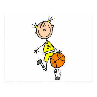 Girl Dribbling Basketball Tshirts and Gifts Postcards