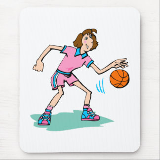 girl dribbling in pink & blue mouse pad