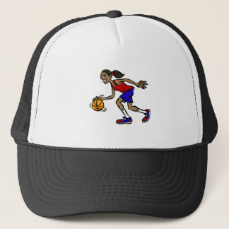 girl dribbling trucker hat
