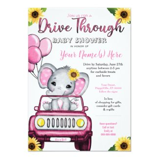 Girl Drive By Baby Shower Invitation, Elephant Sunflower