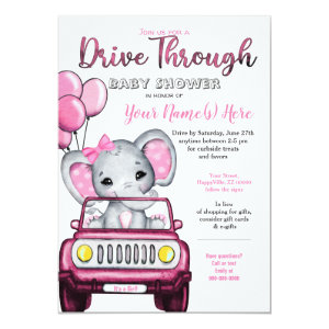 Drive Through Baby Shower Elephant in Car Invitations, pink gray