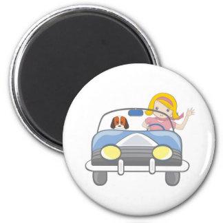 Girl driving a car magnet