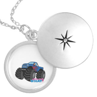Girl Driving Blue Monster Truck Pendants