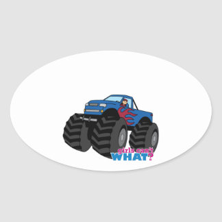 Girl Driving Blue Monster Truck Oval Stickers