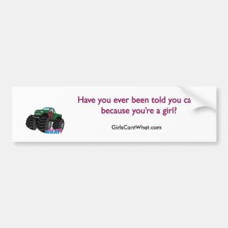 Girl Driving Green Monster Truck Bumper Sticker