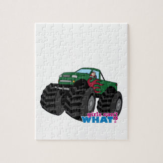 Girl Driving Green Monster Truck Jigsaw Puzzle