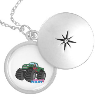 Girl Driving Green Monster Truck Locket