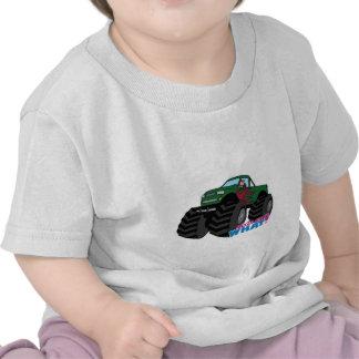 Girl Driving Green Monster Truck T Shirt