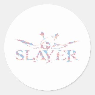 GIRL DUCK SLAYER ROUND STICKERS