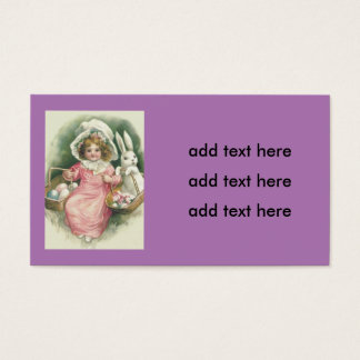 Girl Easter Basket Bunny Colored Eggs Business Card