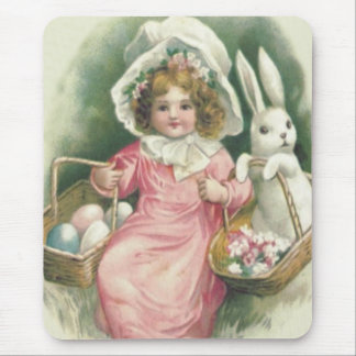 Girl Easter Basket Bunny Colored Eggs Mouse Pad