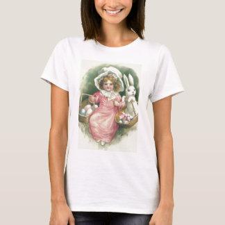 Girl Easter Basket Bunny Colored Eggs T-Shirt