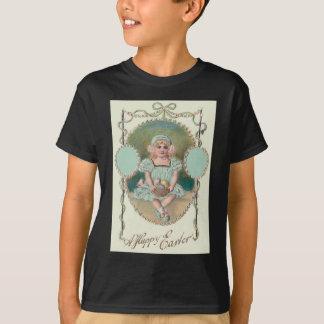 Girl Easter Basket Colored Egg Rose T-Shirt