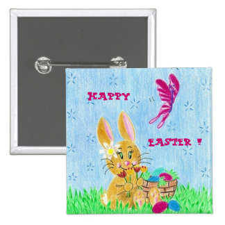 Girl Easter Bunny 2 Inch Square Button