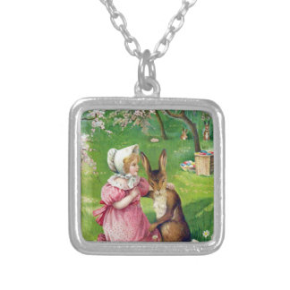 Girl Easter Bunny Colored Eggs Dogwood Square Pendant Necklace