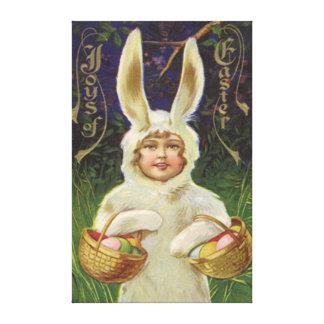 Girl Easter Bunny Costume Basket Colored Egg Canvas Print