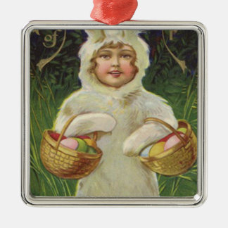 Girl Easter Bunny Costume Basket Colored Egg Square Metal Christmas Ornament