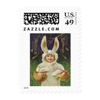 Girl Easter Bunny Costume Basket Colored Egg Postage