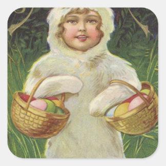 Girl Easter Bunny Costume Basket Colored Egg Square Sticker