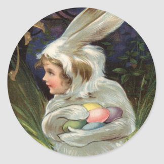 Girl Easter Bunny Costume Colored Painted Egg Classic Round Sticker