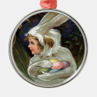 Girl Easter Bunny Costume Colored Painted Egg Round Metal Christmas Ornament