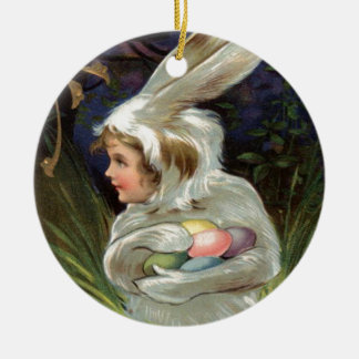 Girl Easter Bunny Costume Colored Painted Egg Double-Sided Ceramic Round Christmas Ornament
