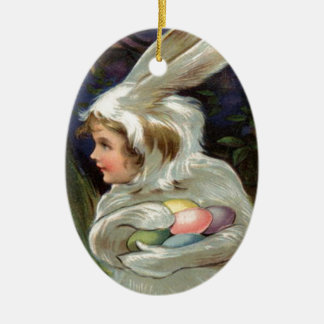 Girl Easter Bunny Costume Colored Painted Egg Double-Sided Oval Ceramic Christmas Ornament