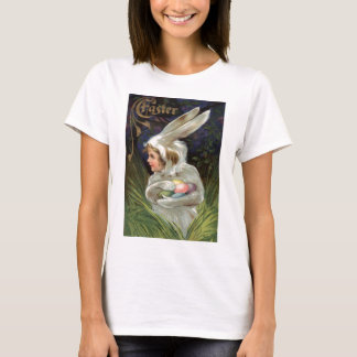 Girl Easter Bunny Costume Colored Painted Egg T-Shirt